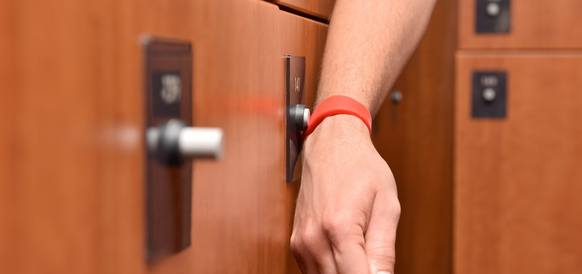 Lockers can be quickly opened with the swipe of a wristband
