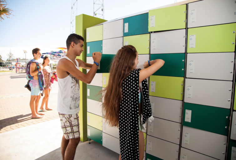 Storage lockers can be rented per hour
